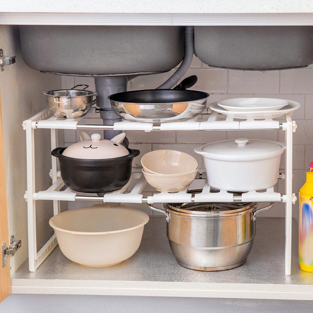 Attirant NEW Adjustable Shelf Kitchen Under Sink Cupboard Storage Organiser Rack  Pots Pans Lid Kitchen Shelf Pot