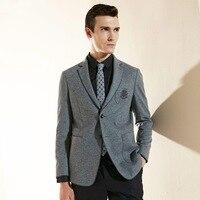 Человек блейзер 2018 Осень Новые поступления один блейзеры 89% шерсть материал высокого качества бизнесмен серый 2 кнопки мужская одежда