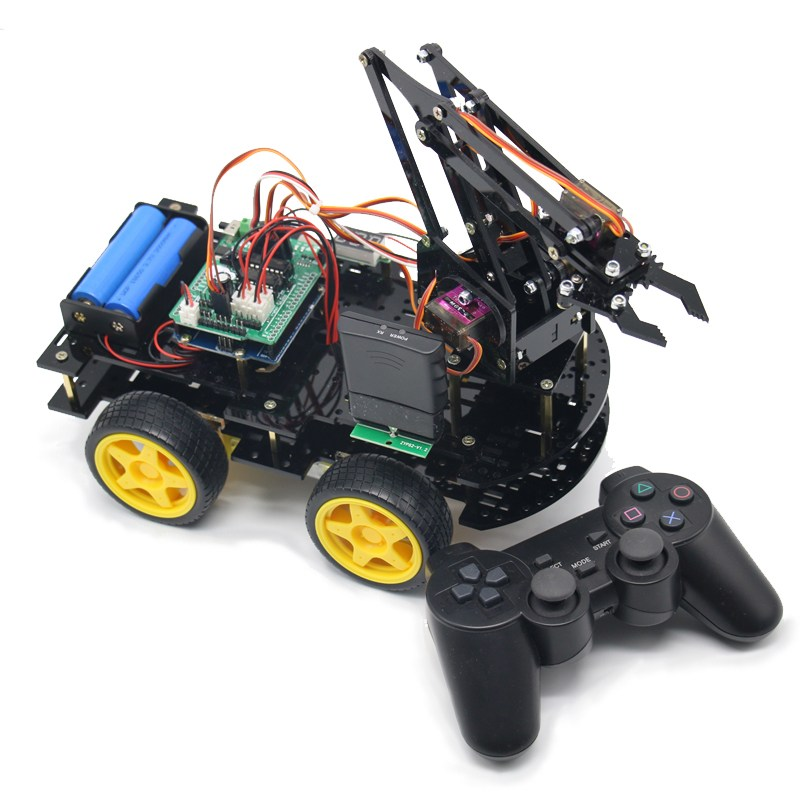 DIY meArm Robot Arm Car for Ardunio Program with PS Wireless Remote Control Toy Blue/Yellow /Black RC Model For Kids Gift cool intellectual development diy toy car black blue 2 aa