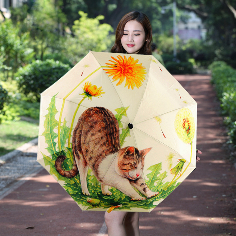 Creative Illustration Ethereal Cat Rain/ Sun Umbrella 3 Folding 6 Rib Thickening Sunshade Anti UV Women Lady Umbrellas Paraguas