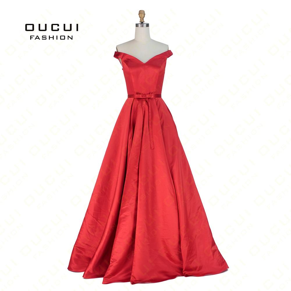 Real Simple Red Prom Dress Shoulder Satin
