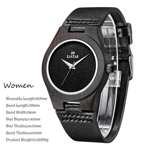 Eastar Wood Watch Women Lightweight Round Wrist Watch Luxury Brand Wooden Quartz Watches 2