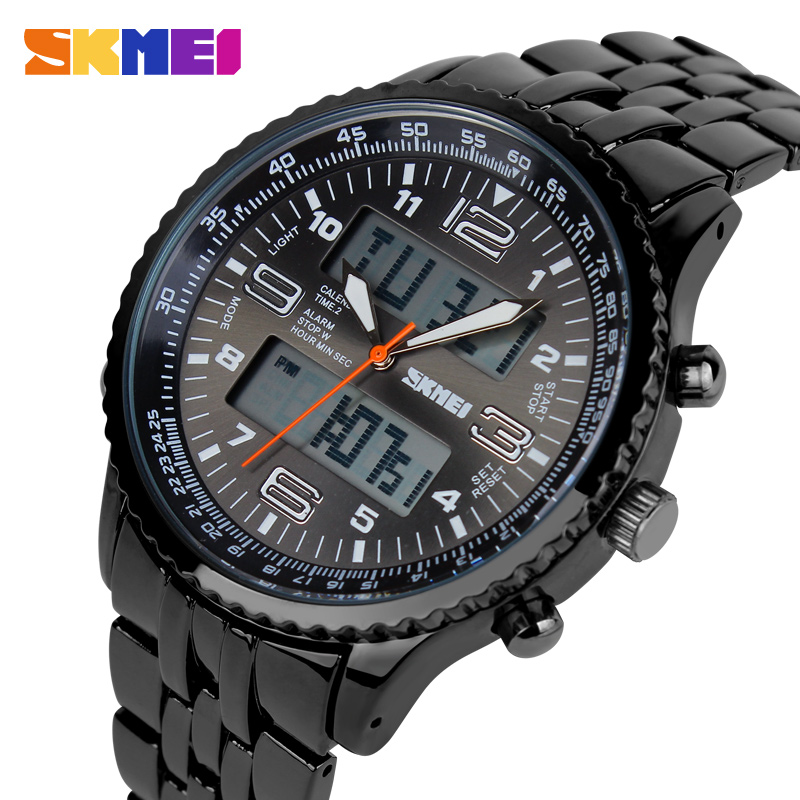 Skmei Fashion Black Stainless Full Steel Strap Relogio Male Clock font b Men b font Wristwatch