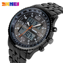 Skmei Moda Correa de Acero Inoxidable Negro Completo Relogio Masculino Montre Homme Reloj Hombre Reloj de Cuarzo Reloj Deportivo A Prueba de agua