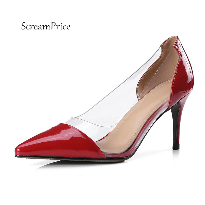 Women Genuine Leather Slip On Sexy Thin High Heel Lazy Shoes Fashion Pointed Toe Comfortable Transparent Dress Pumps Black Red women gold silver leather white pearls decoration pumps summer fashion pointed toe slip on dress shoes high thin heel shoes