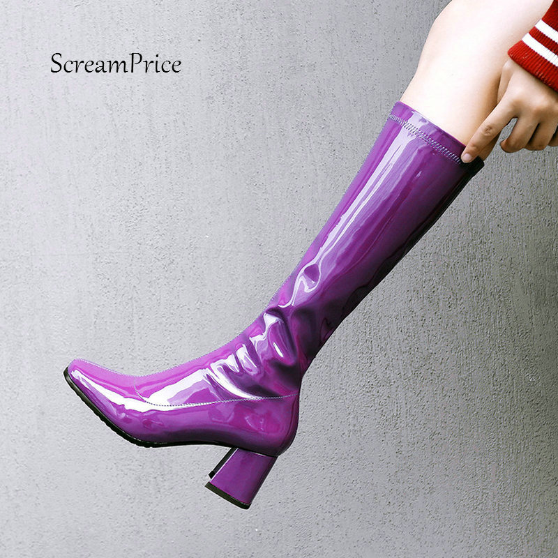 Female Sexy Patent Leather Comfort Thick Heel Knee High Boots Fashion Zipper Boots Women Square Toe Fall Winter Shoes Black стоимость