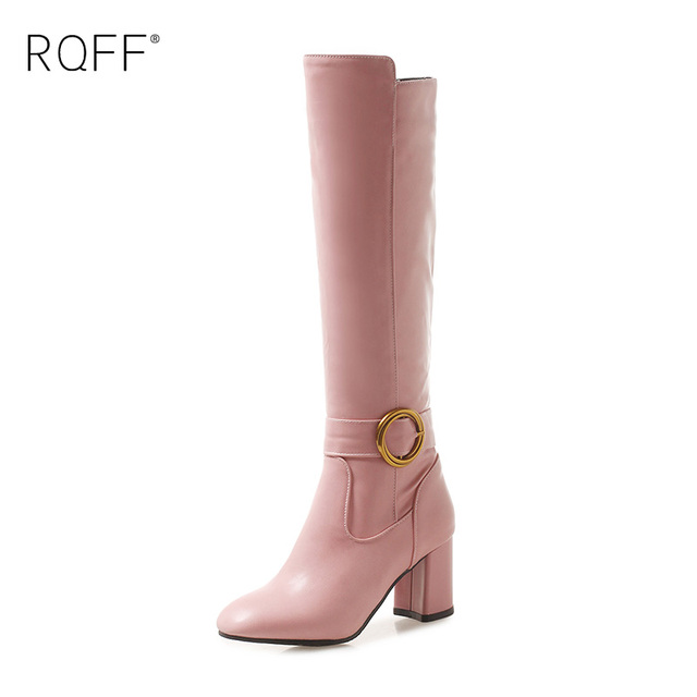 RQFF Winter New Soft Surface Knee High Boots Women Plus Size High Heels Round Toes Metal Ring Buckle Ladies Slip-on Shoes Woman