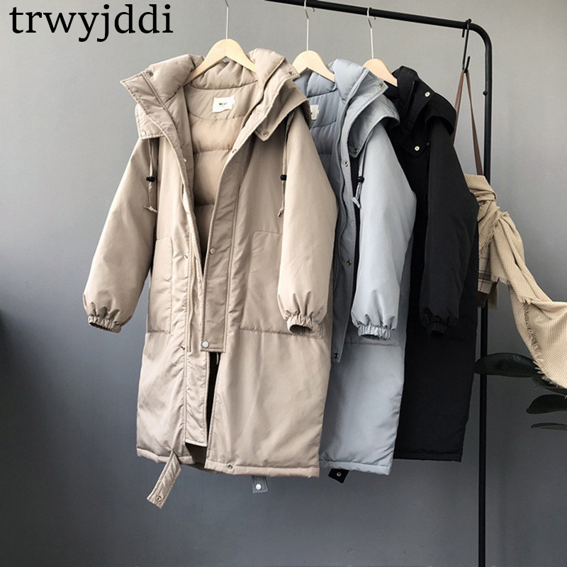 2019 Winter Jacket Women Vintage Down Jackets Windbreaker Coats Female Cotton Padded Long   Parkas   Women Korean Hooded Coat N167