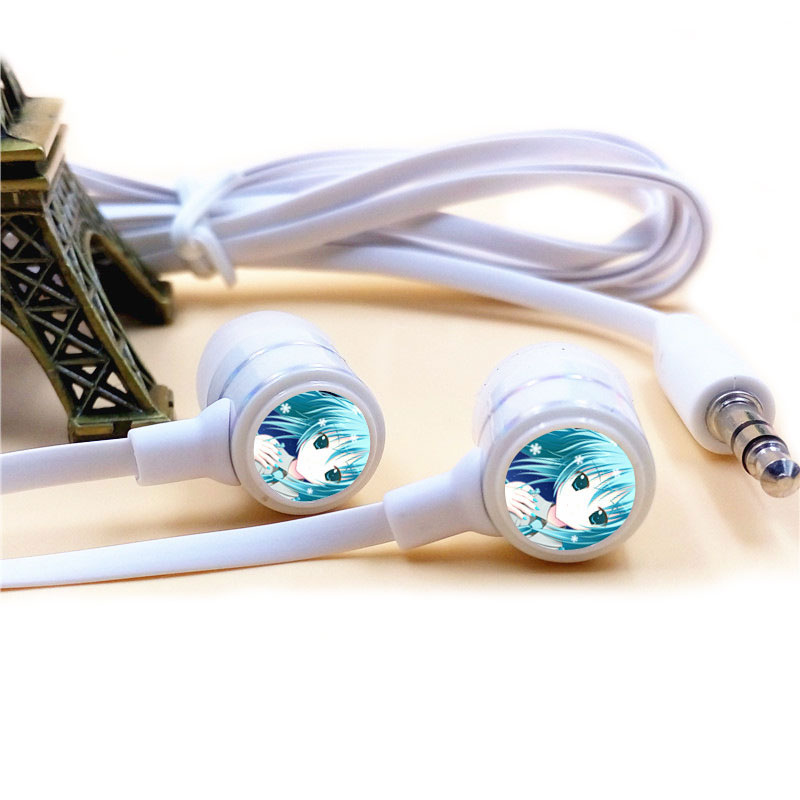 Anime Hatsune Miku In-ear Earphone 3.5mm Wired Stereo Earbuds Microphone Phone Headsets for Iphone Samsung Xiaomi VIVO MP3 PSP xiaomi miui 3 5mm stereo in ear earphone w microphone blue