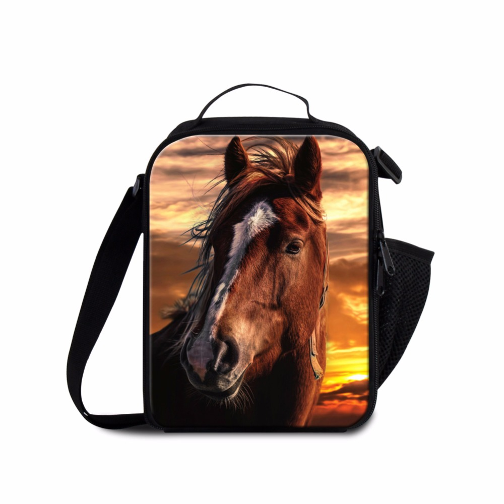 Dispalang Cute Horse Lunch Bag for Kids Small Personal Cooler Bag Handbag Lunch Bag for Girls Insulated Lunch Container for Boys