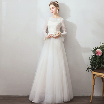2019 Sexy O-neck Floor length Long Zipper Long Sleeves Lace Embroidery Beach Wedding Dress Real Photo Wedding Gown
