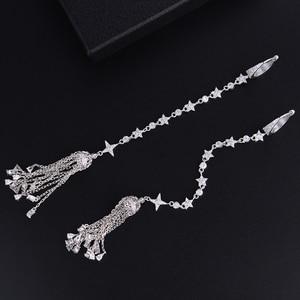 Image 2 - GODKI 149mm bardzo długa krzyż Tassel krople geometria cyrkonia American Wedding Party kolczyk biżuteria dla kobiet
