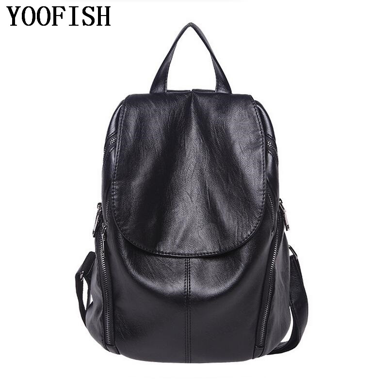 YOOFISH Brand Designer Women Backpacks Genuine Leather Shoulder Bags Fashion Lady Travel Backpack Bag Casual bag LJ-889 2016 new famous brand women backpacks fashion genuine leather shoulder bags multi functional lady real leather travel bag