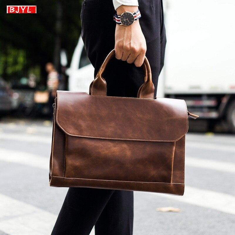 Men's Genuine Leather Handbag Crazy Horse Leather Men Briefcase Shoulder Bag Business Crossbody Bags 14