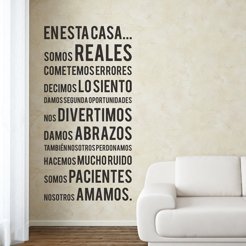 Spanish house rules in this house quotes vinyl wall for Phrases murales