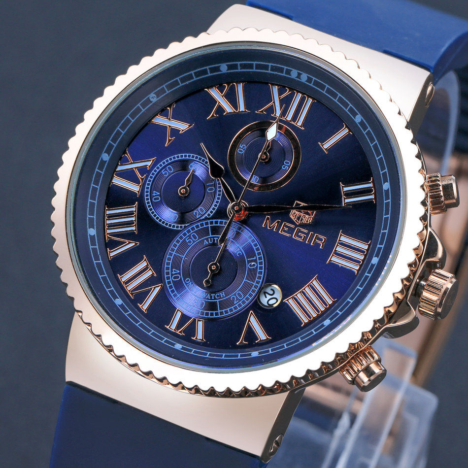 MEGIR Sport Shows Travel Time Offers Multifunction Watch Men s Blue Dial Military Quartz Waterproof Watches