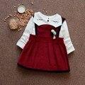 Новорожденный ребенок весна девочек dress рубашка костюм милый ребенок партия dress плед 1 Т рождения dress платья принцесс детская одежда хлопок
