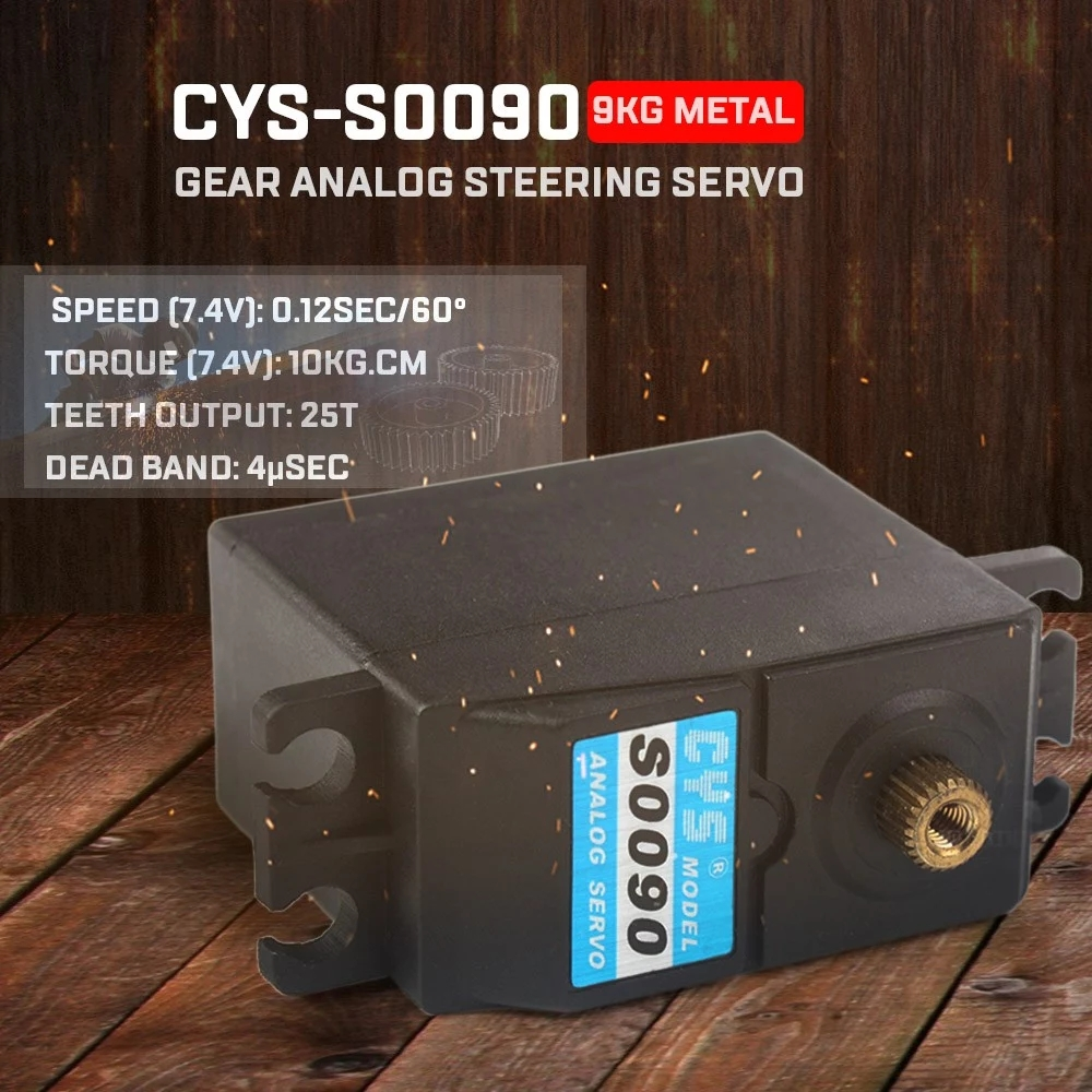 New CYS-S0090 9kg Metal Gear Analog Steering Servo For RC Traxxas Car Buggy Truck Boat Airplane Helicopter RC Toys Accessories