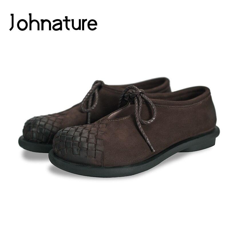 Johnature 2019 جديد الربيع/الخريف اليدوية جلد طبيعي الدانتيل متابعة عارضة جولة اصبع القدم الضحلة عبر تعادل الخياطة شقة النساء أحذية-في أحذية نسائية مسطحة من أحذية على  مجموعة 1
