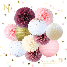 Nicro 새로운 12 개/대 웨딩 생일 파티 장식 DIY 장식 종이 벌집 공 랜턴 꽃 PomPom # Set45