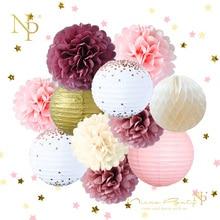 Nicro New 12Pcs/Set Wedding Birthday Party Decoration DIY Decor Paper Honeycomb Ball Lantern Flower PomPom #Set45