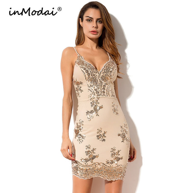 6349401db75 inModai Summer Sequin Dress Sexy Cocktail Party Short Mini Dress V Neck  Backless Bodycon Women Spaghetti Strap Club Wear INM043