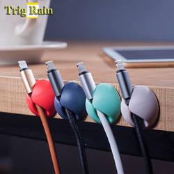 Круглый держатель кабеля протектор устройство управления Организатор отделка рабочего стола Plug силиконовые провода удержания зажимы