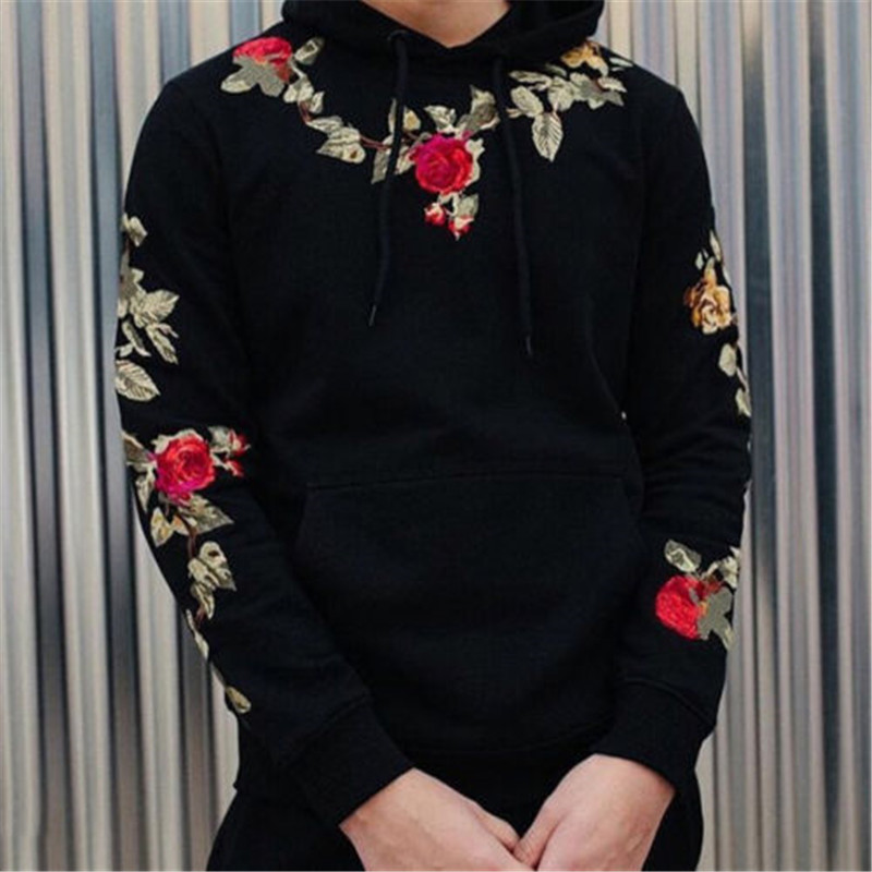 Drop Shipping Hoodies Men Long Sleeve Warm Pullover Rose Floral Print Hooded Sweatshirt Male Hoodie Casual Sportswear Plus Size