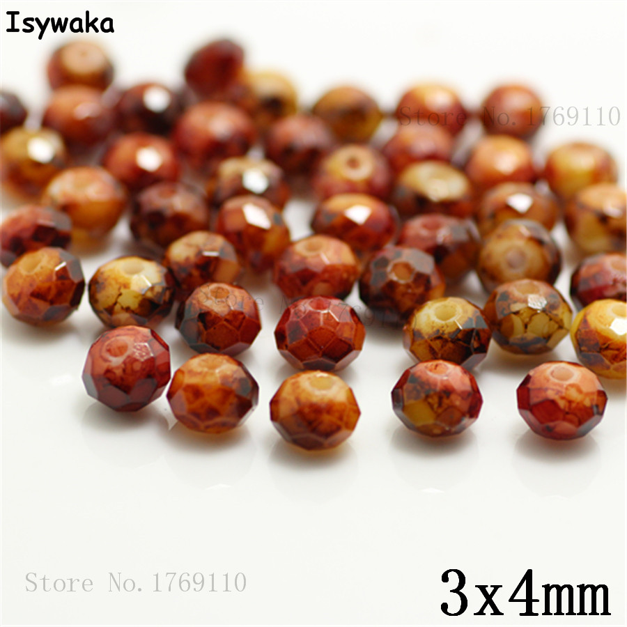 Isywaka 3X4mm 30,000pcs Rondelle Austria faceted Crystal Glass Beads Loose Spacer Round Beads Jewelry Making NO.26