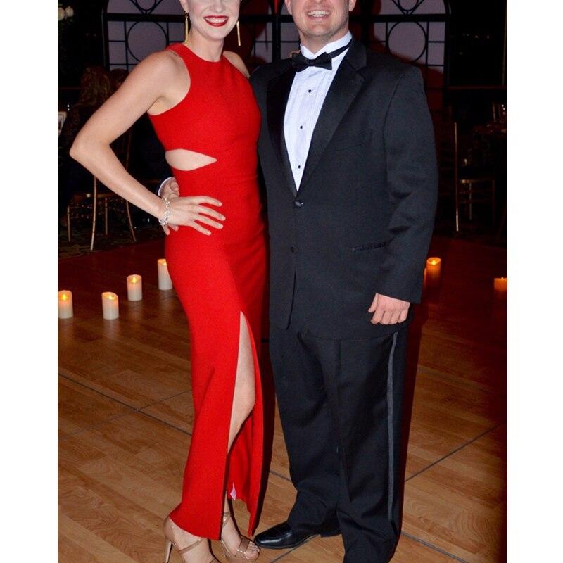 Lady Maxi Outfit Party Vestido O Neck Sleeveless Evening Cutout Waist Long Celebrity Red Dresses High Split Bandage Dress Women