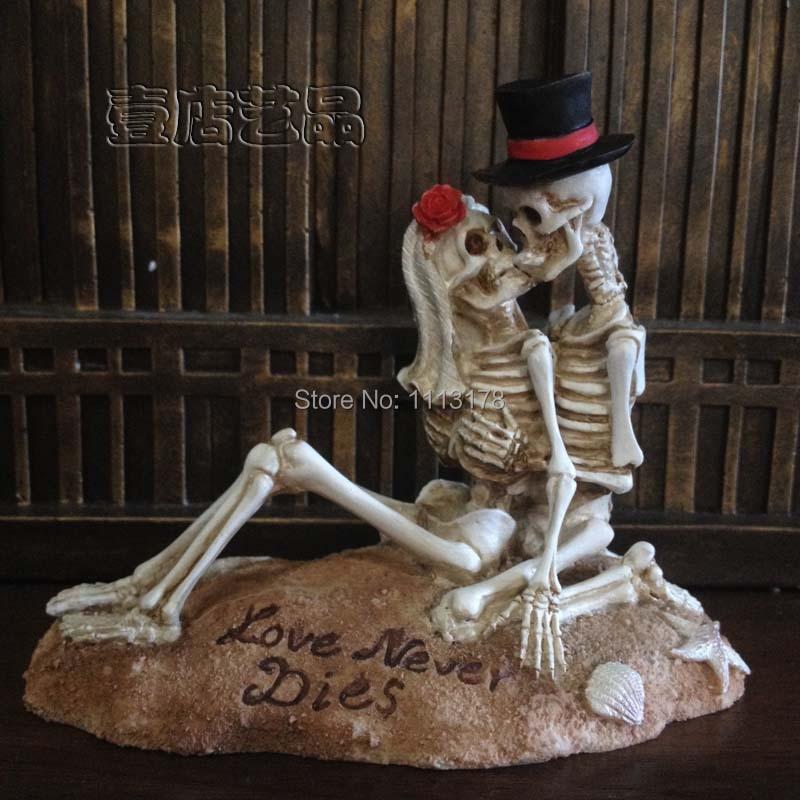 Beach Wedding Cake Topper Halloween Skull Bride And Bridegroom Figurine Cake  Toppers Decoration Valentineu0027s Day Gift