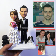 bobblehead custom Wedding Cake Topper Statue with two dog Custom Bride Groom Stablemate animal personalised