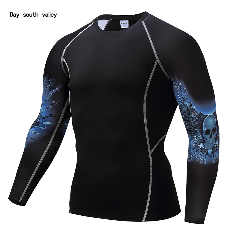 T-shirt Compression Men gym shirt running T-Shirt Skull tights tracksuit men top long sleeve rashgard MMA track suit brand tshir