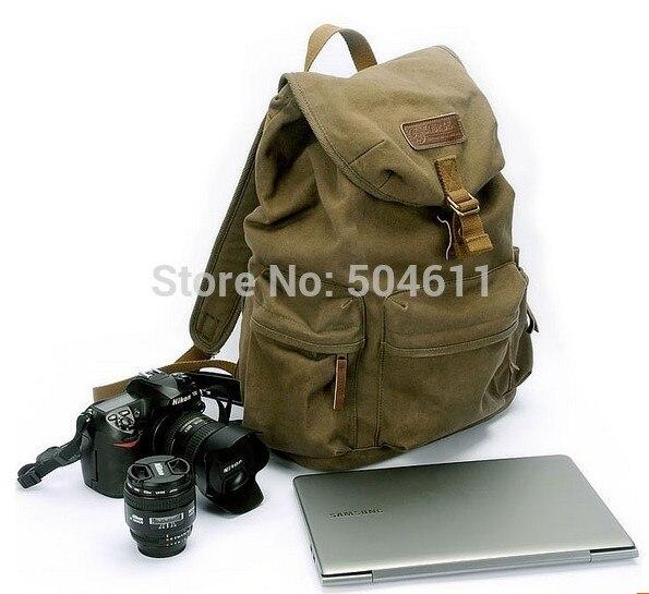 Course F2003 Canvas Vintage DSLR SLR Camera Shoulder Case Backpack Rucksack Bag With Waterproof Rain Cover For Sony Canon Nikon