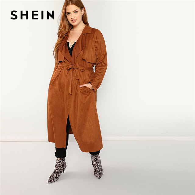 d1100b92374 SHEIN Brown Plus Size Belted Wide-waisted Women Long Suede Trench Coats  2018 Autumn Office Lady Notched Collar Solid Outerwear