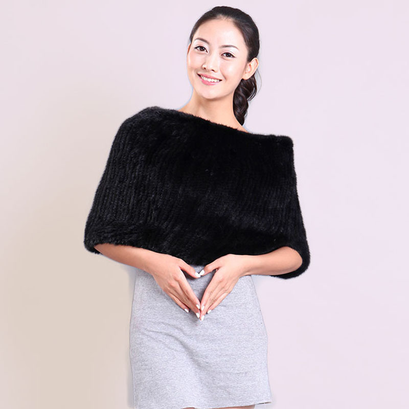 Ms MinShu Real Mink Fur Shawl Fashion Genuine Mink Fur Scarf Women Elastic Mink Fur Warmer
