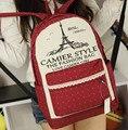Chicas Mochilas Mujeres Viajan Bolsas Torre Eiffel Bolsas de Viaje Ocasional Escuela Estudiante Bolsa de Lona de la Muchacha Mochila F143