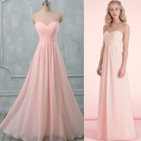 2017 Cheap Pastel Colors Prom Dresses To Wedding Party Long A Line Sweetheart Chiffon Formal Dress