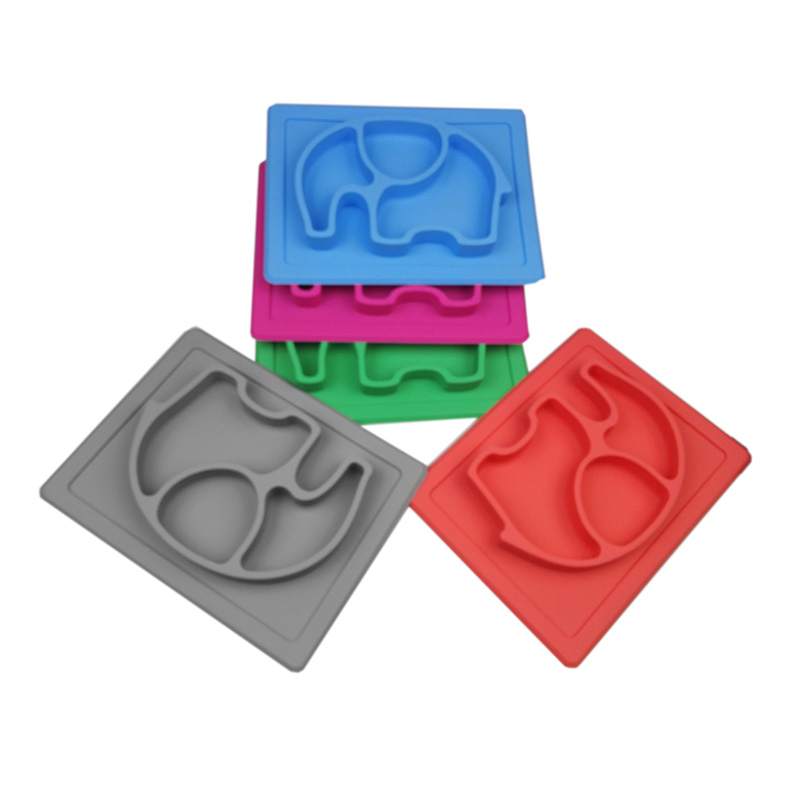 BPA free non slip baby silicone elephant placemat for kids todller children in one piece
