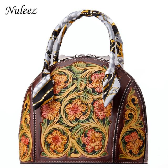 Nuleez genuine leather bag women unique design man carve flower artful drawing Vintage totes women 2018 classic