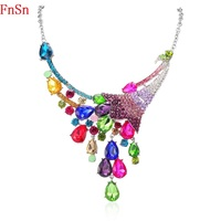 FnSn New2017 Hot Summer Peacock Necklace Choker Colorful Crystal Women Zinc Alloy Gift Fashion Animal Jewelry