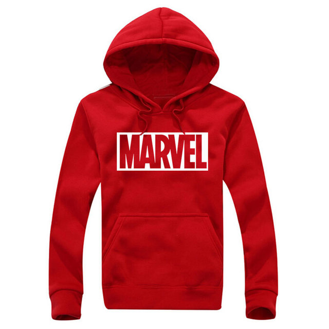 New Marvel Letter Print Black Sweatshirt Men Hoodies