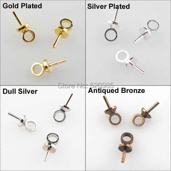 (100Pcs=1lot) Eye Pin Pearl Pendant Charm Connector Bail 2.5x6.5mm Gold Silver Nickel Bronze PlatedCup DIY No.CN021
