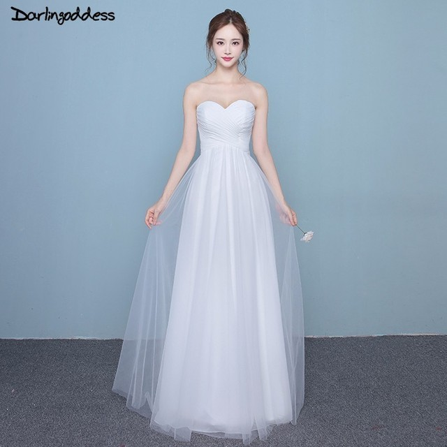 US $56.8 30% OFF|Elegant Cheap Wedding Dress Strapless Sweetheart Plus Size  Wedding Gowns 2018 White Tulle Lace Up Simple Beach Wedding Dresses -in ...