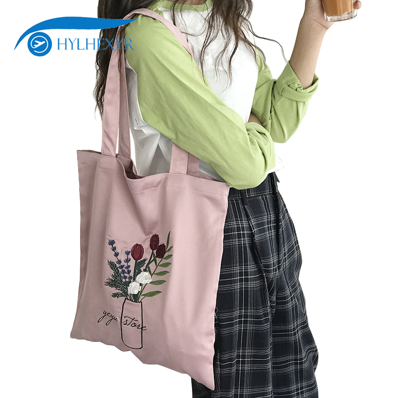 9683abc93f33 Hylhexyr Tulips Flowers Embroidery Handbag Satin Casual Shoulder Bag Women  Hand Bags Leisure Tote Purse For