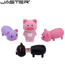 JASTER Cartoon Animal color mini pig USB Flash Drive 2.0 4GB/8GB/16GB/32GB/64GB Gift Pen Real Capacity Stick