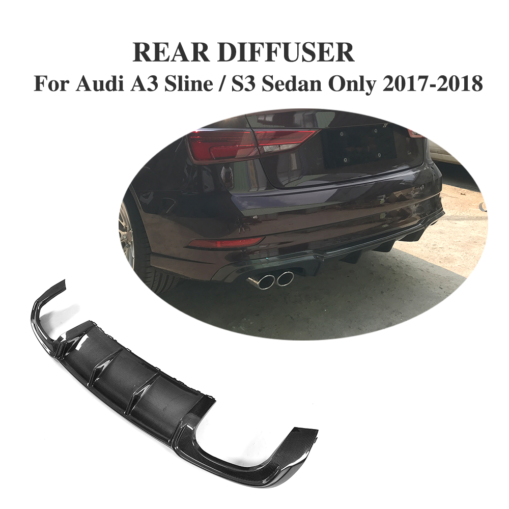цена на Rear Diffuser Lip Carbon Fiber Bumper Protector For Audi A3 Sline S3 Sedan Only 2017-2018 dual exhaust two outlet
