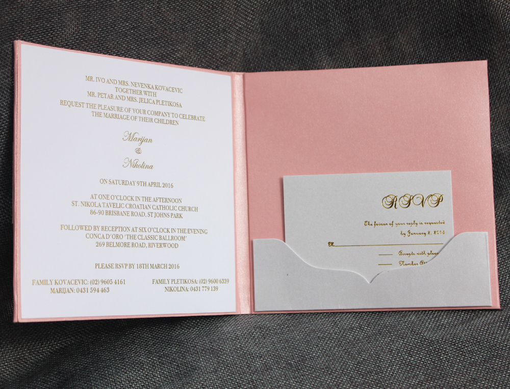 HI1083 Customized Lovely Pink Hard Cover Wedding Invitation with ...