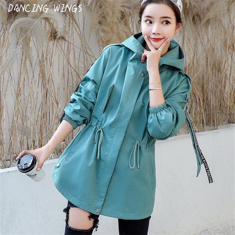 BF نمط فضفاض مقنعين سترة واقية معطف الإناث متوسطة طويلة الرباط الخصر عارضة الأدوات سترة المرأة-في معطف مبطن من ملابس نسائية على  مجموعة 1