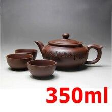 Yixing Keramik Teekanne Handgefertigten Porzellan Teekanne Tasse Gesetzt Lila Ton teekannen 350 ml Zisha Kung Fu Zeremonie Geschenk BONUS 3 TASSEN 50 ml